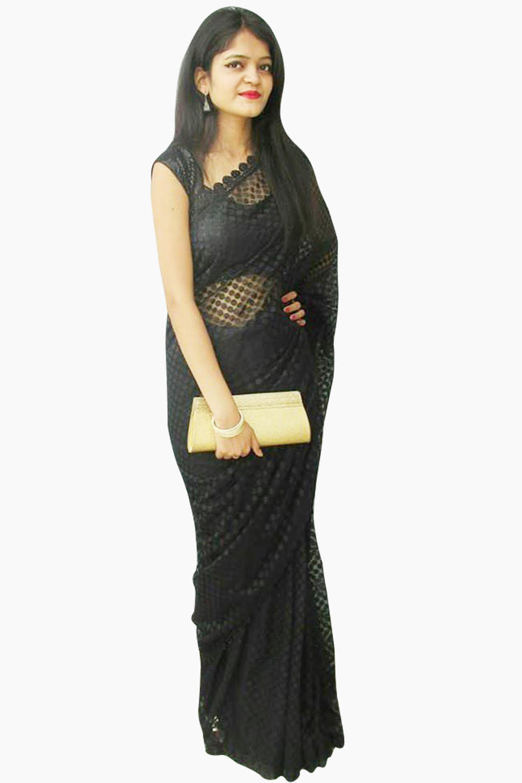 Net Embossed Black Saree