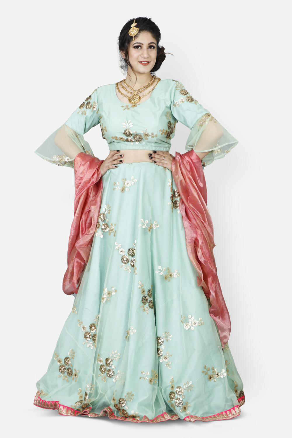 Sea Green-Pink Embroidered Net Lahenga with Ruffled Dupatta