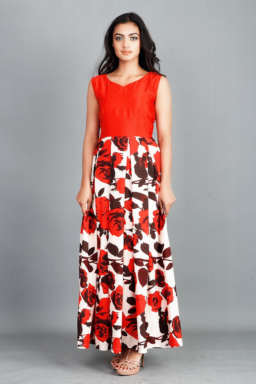Floral Box Pleated Maxi Dress