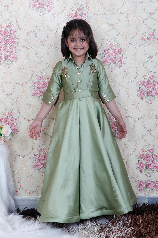 Pista Green Skirt Top Set
