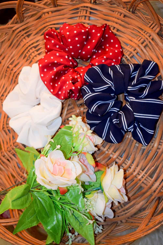 3 Printed Crepe Scrunchies Set