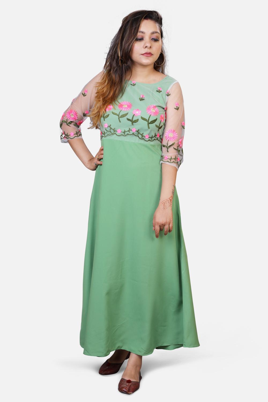 Floral Net Maxi Dress