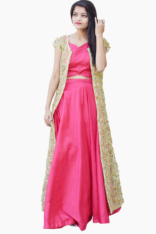 Bandhini Crop Top And Skirt Set