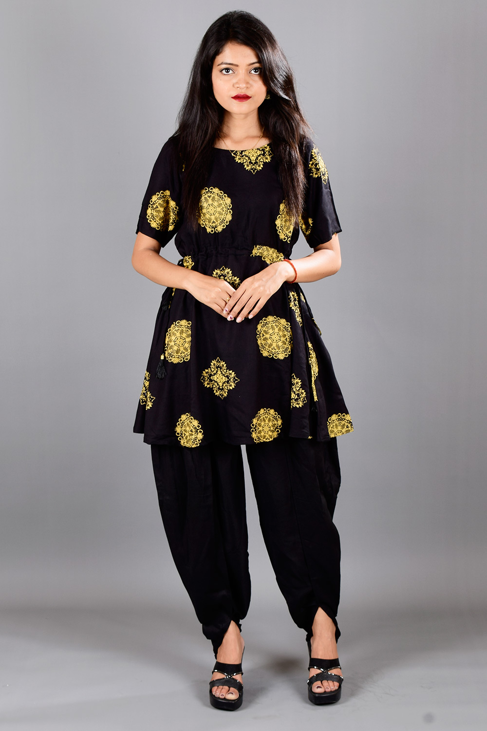 Peplum Kurti with Dhoti Set