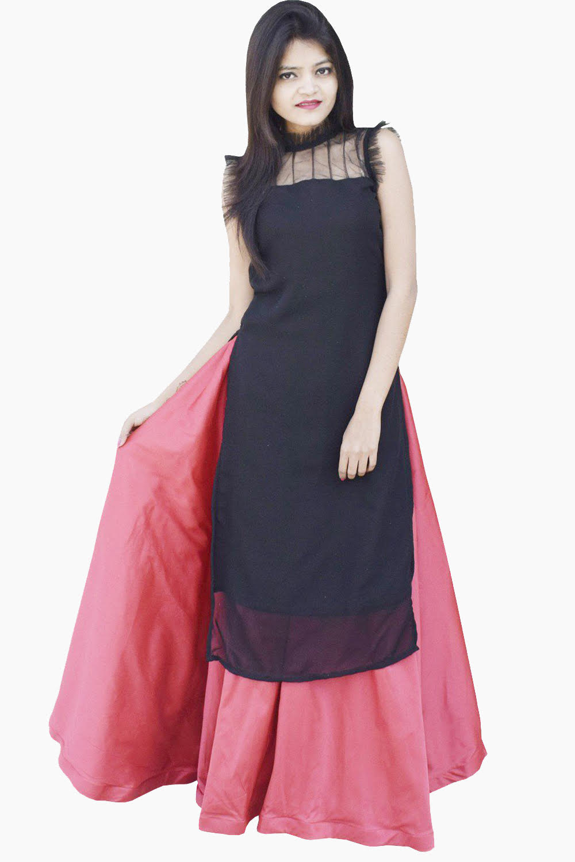 Black Maroon Kurti Skirt Set