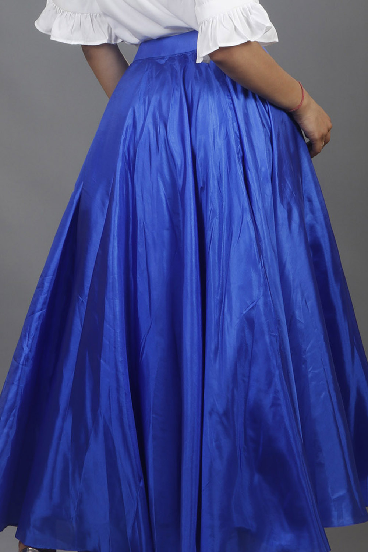 Royal Blue Silk Long Skirt