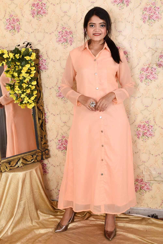 A-Line Peach Maxi Dress
