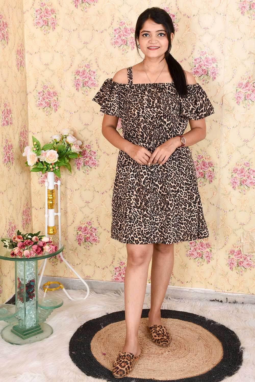 Animal Printed Crepe Dress