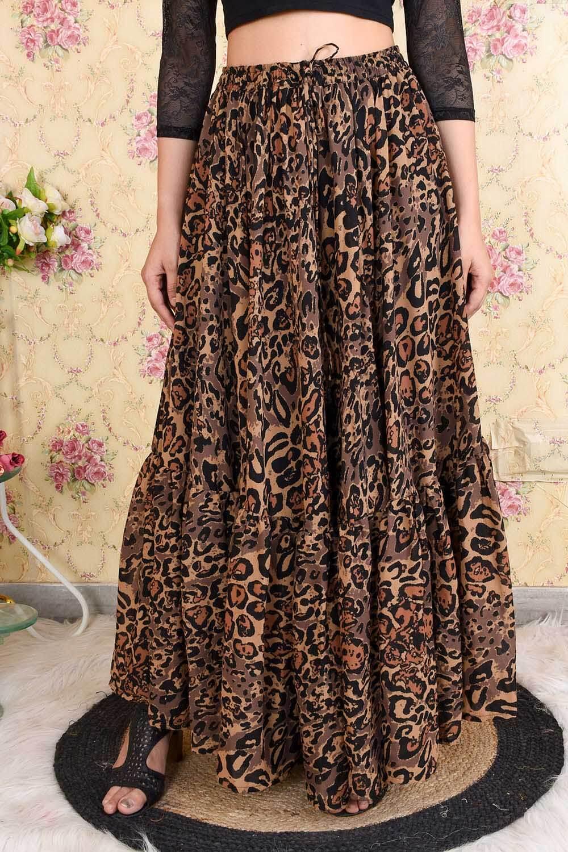 Animal Printed Flared Skirt