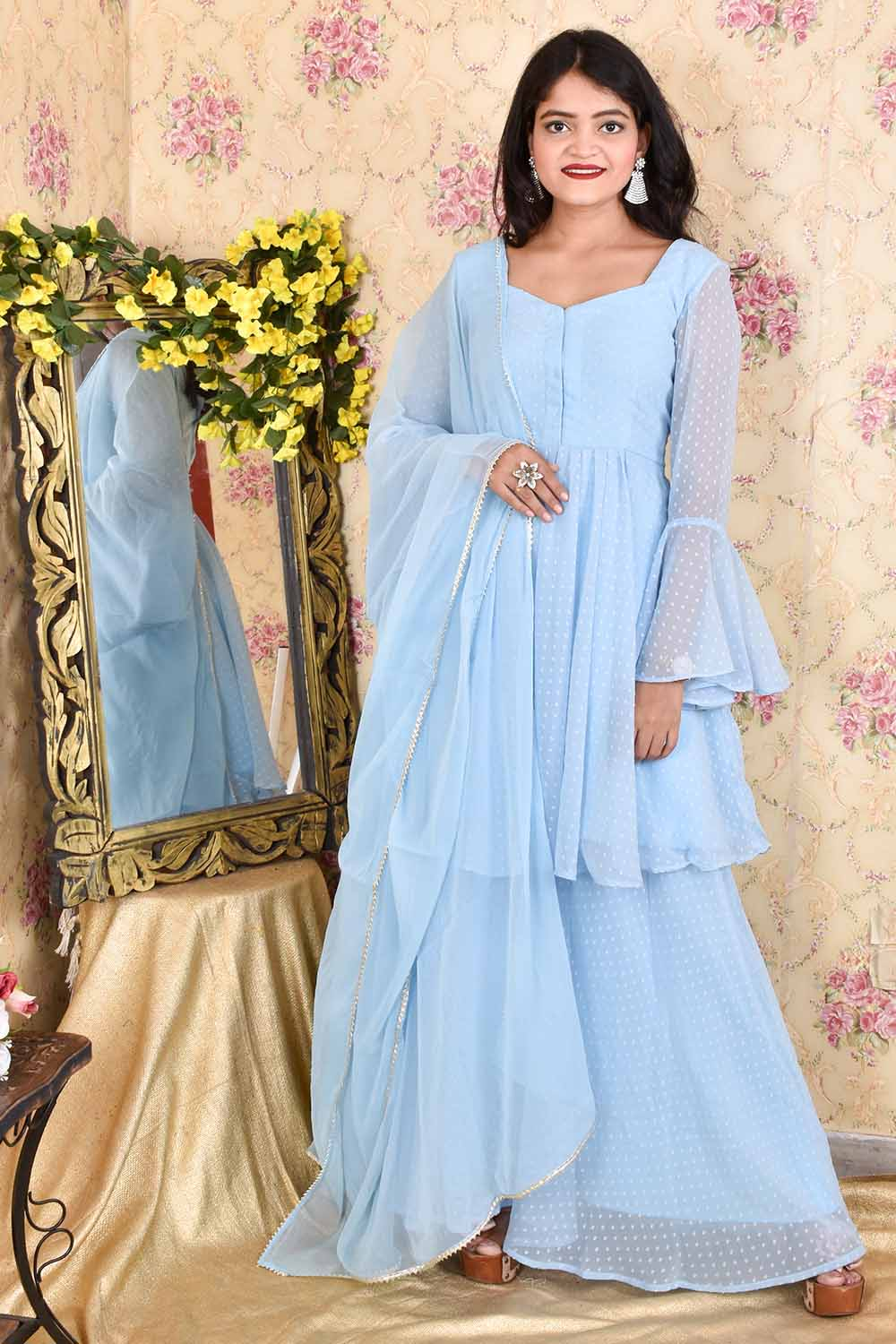 Baby Blue Dobby Georgette Sharara Suit