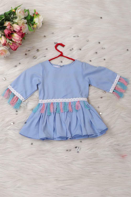 Baby Blue Tassels Love Top