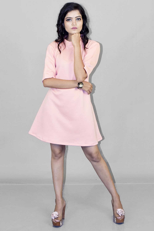 Baby Pink Scuba Short Dress
