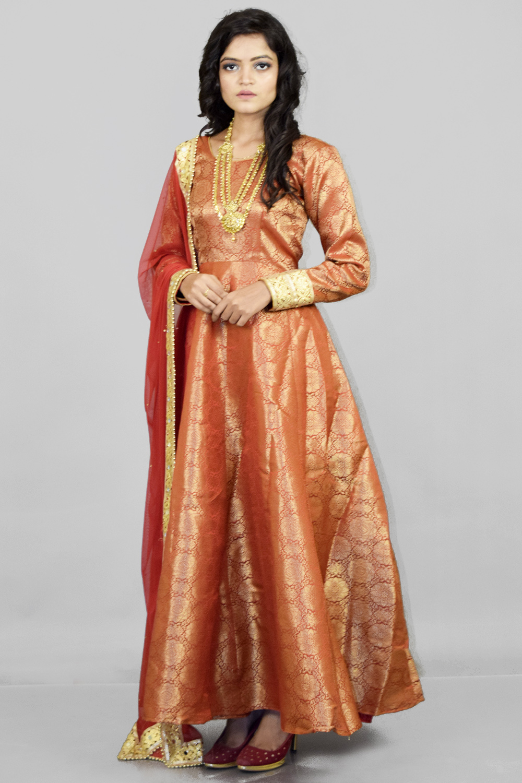 Banarasi Anarkali suit with Maroon Dupatta