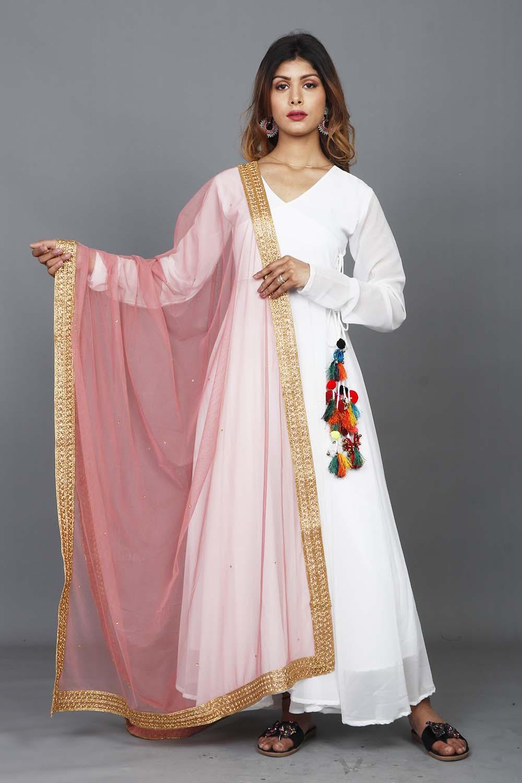 Beautiful Pink Net Dupatta With Zari Lace Border