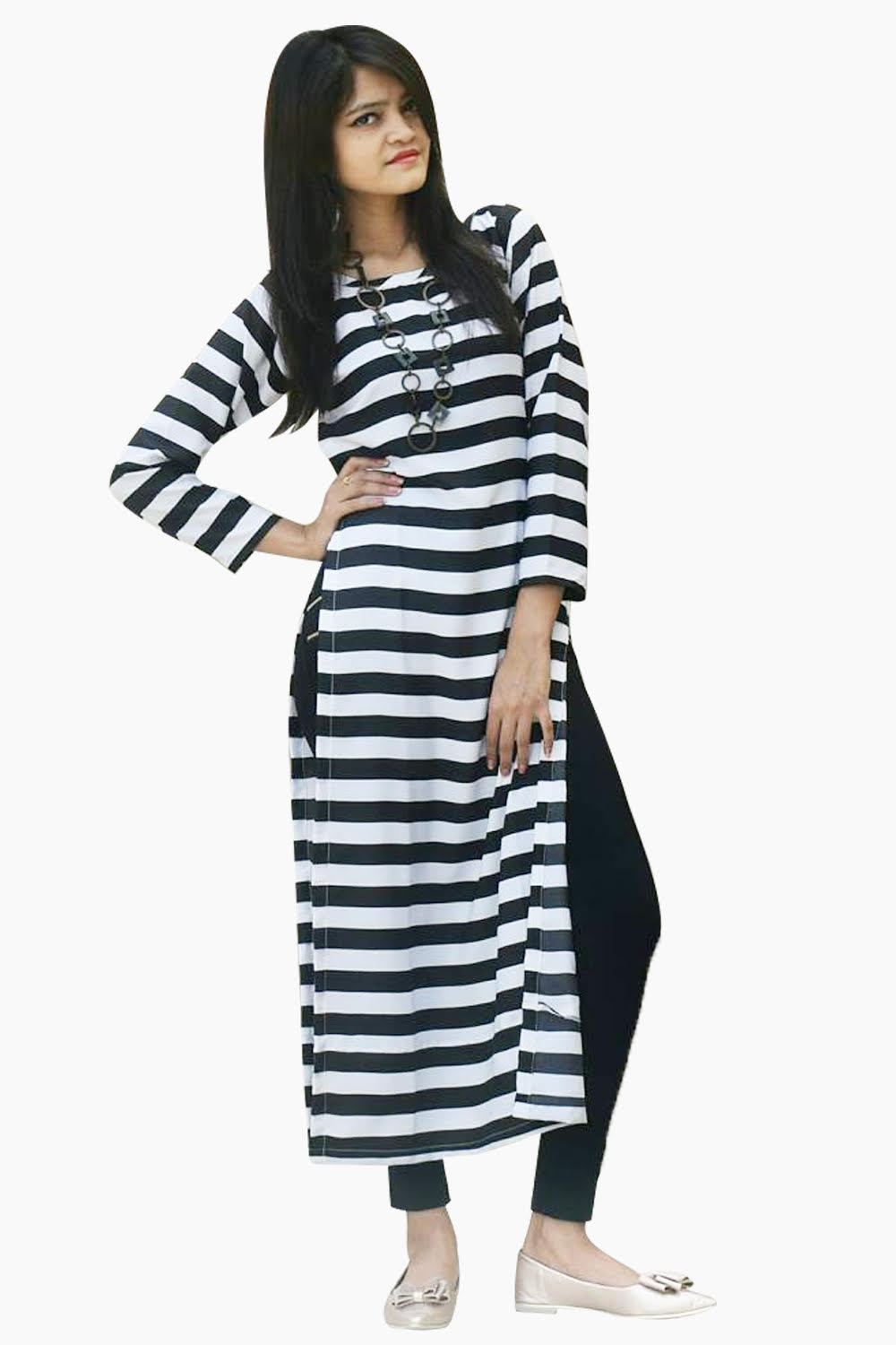 Black And White Stripe Out Long Top