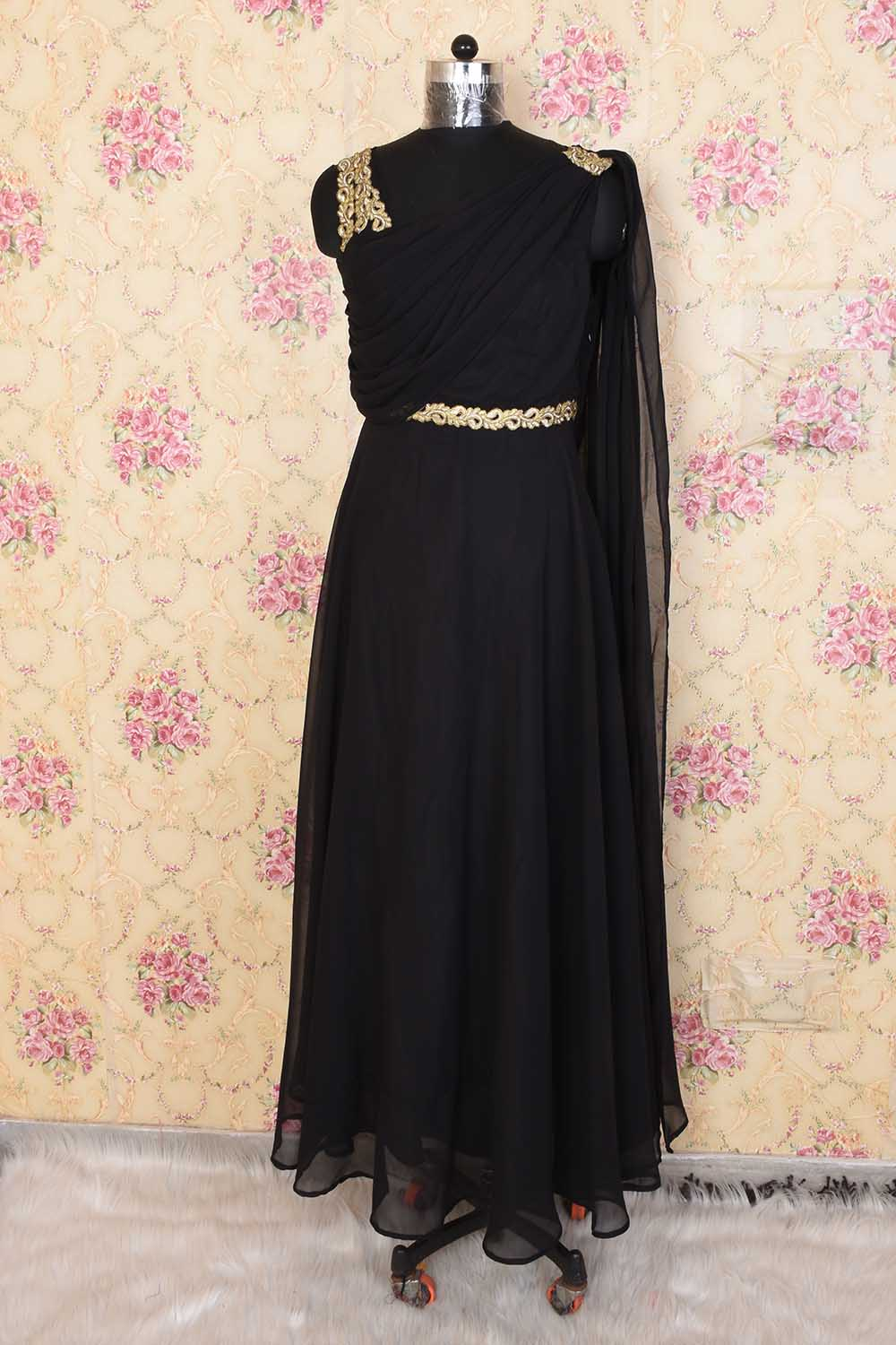 Black Basic Party Wear Gown