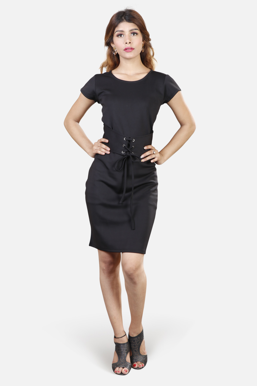 Black Bodycon Dress With Beautiful Belt