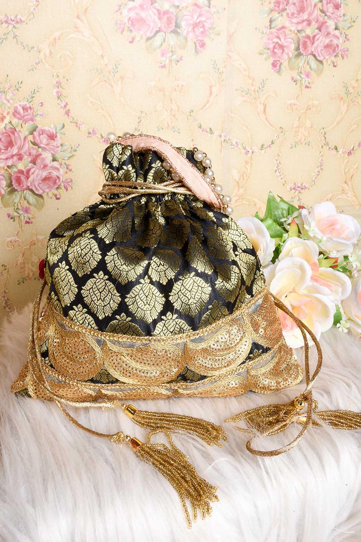 Black Brocade Potli Bag