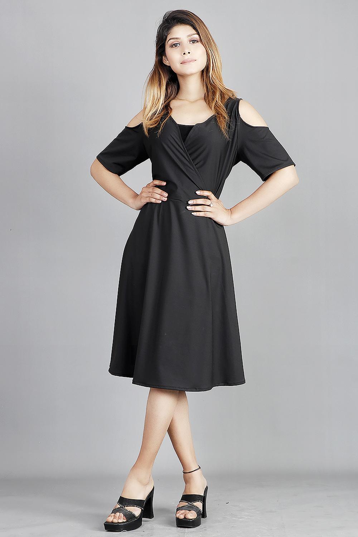 Black Cold Shoulder Crepe Dress
