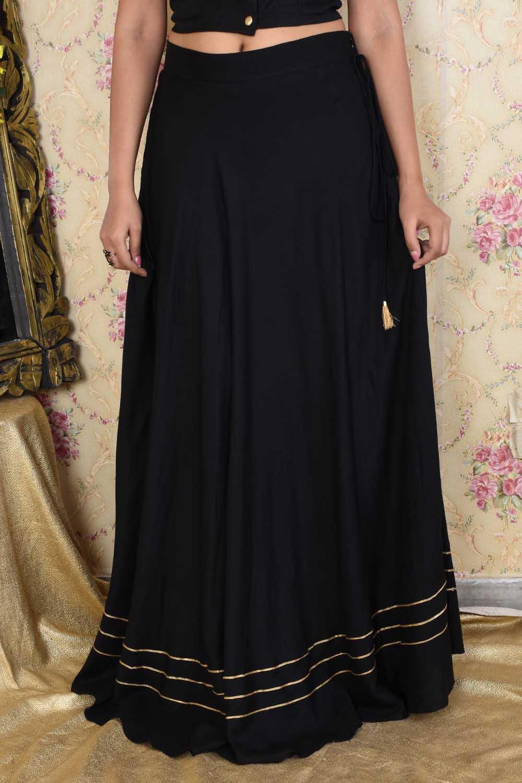 Black Cotton Long Skirt