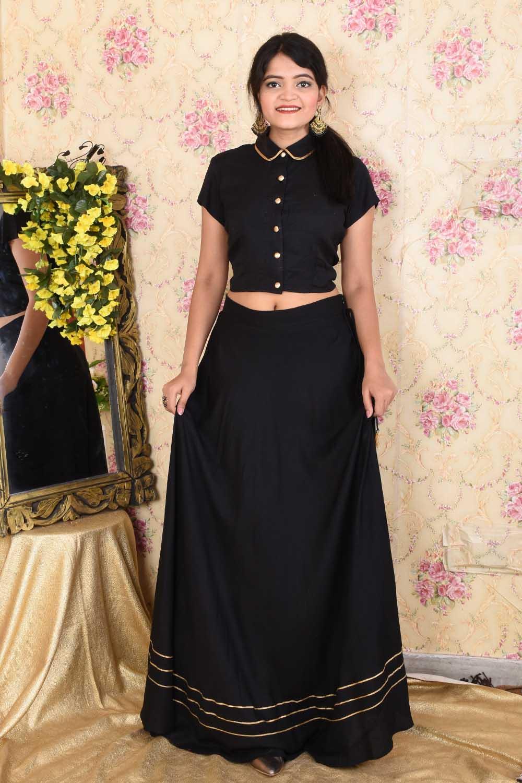 Black Cotton Skirt Top Set
