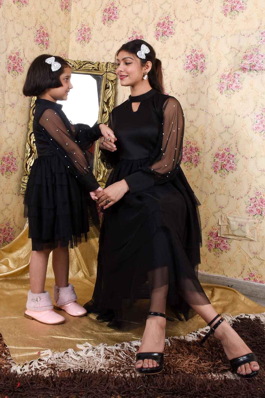 Black Flared Mother Daughter Set