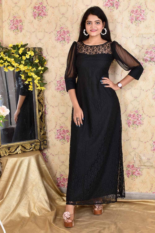 Black Floral Net Gown