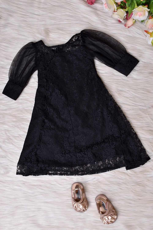 Black Floral Net Kids Gown