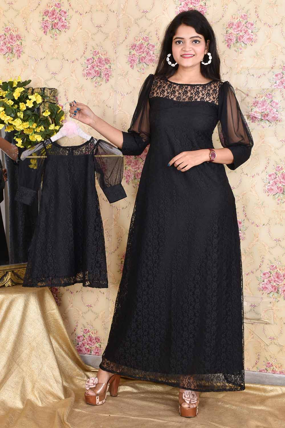 Black Floral Net Mother-Daughter Gown Combo