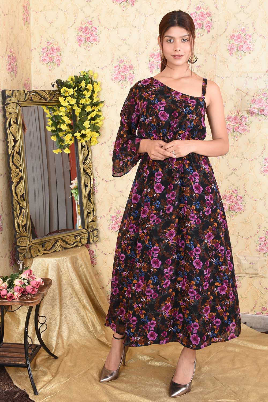 Black Floral Printed Maxi Dress