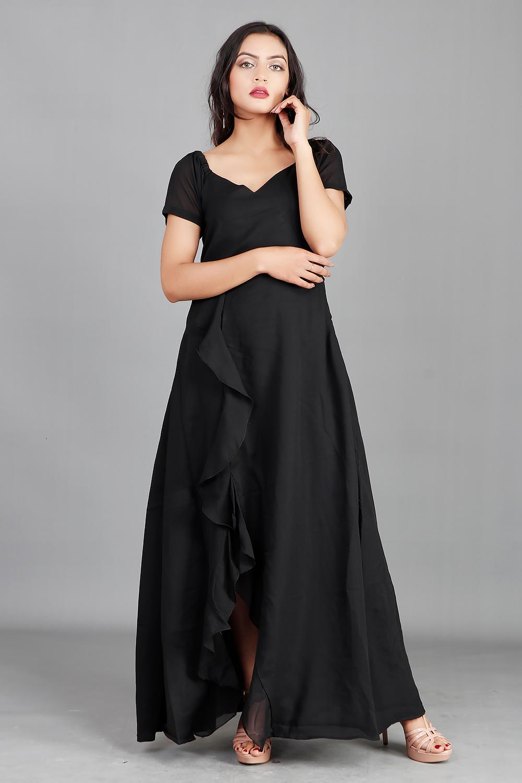 Black Georgette Side Ruffled Maxi