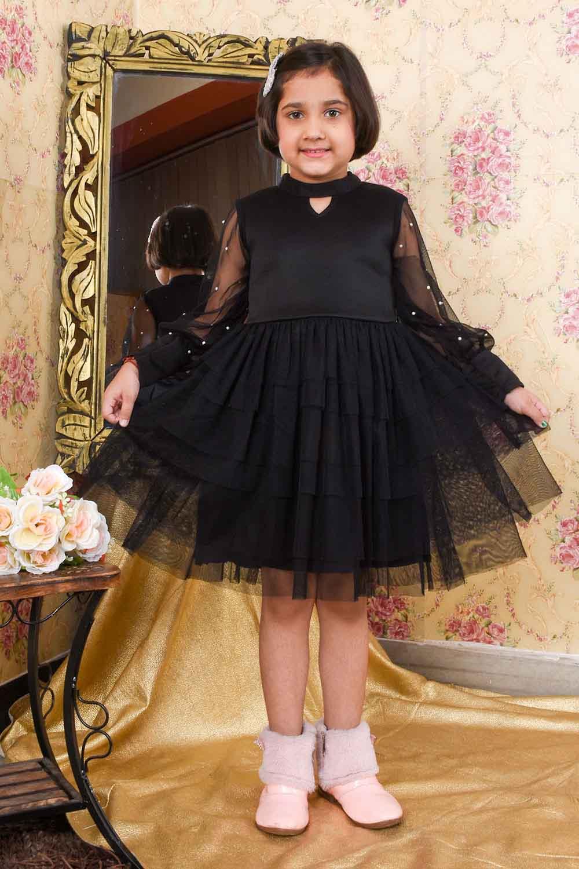 Black Kids Flared Dress