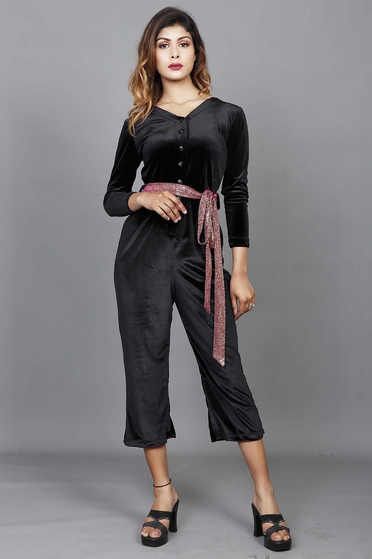 Black Lycra Velvet Jump Suit