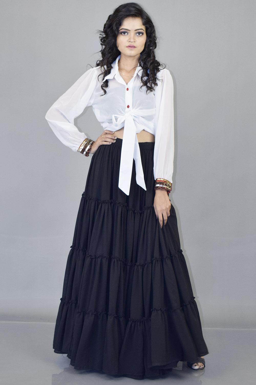 Black Massive flared Skirt and Shirt