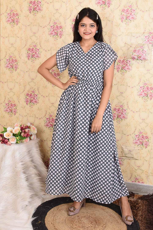 Black Polka dots Georgette Maxi Dress