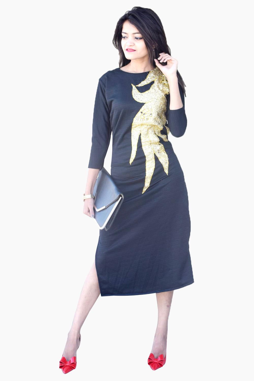 Black Russian Bodycon Dress