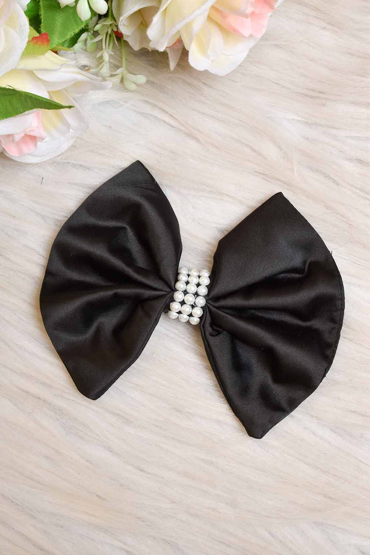 Black Satin Bow Clip