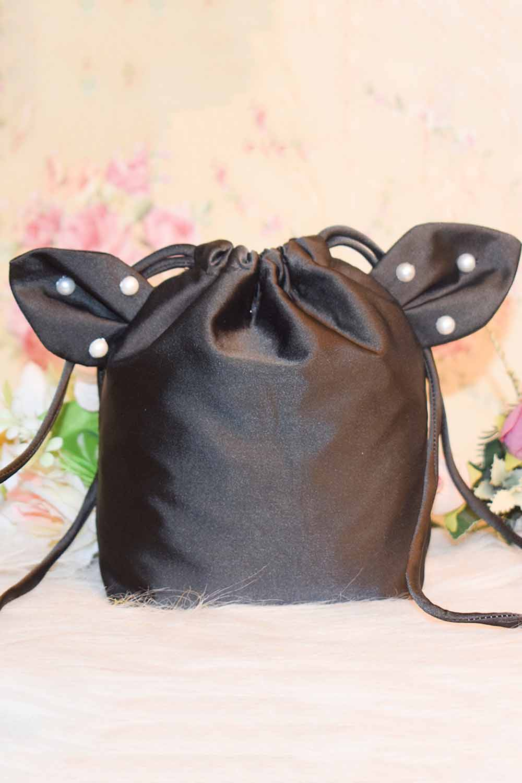 Black Satin Kitty Bag