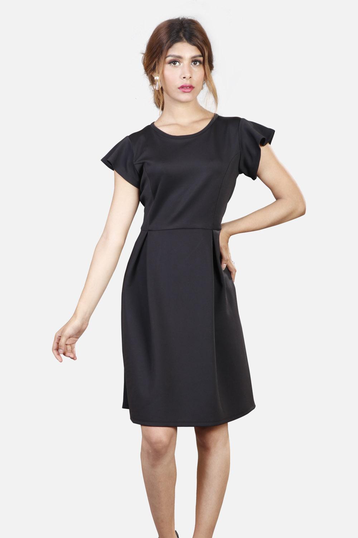 Black Scuba Box Pleated Dress