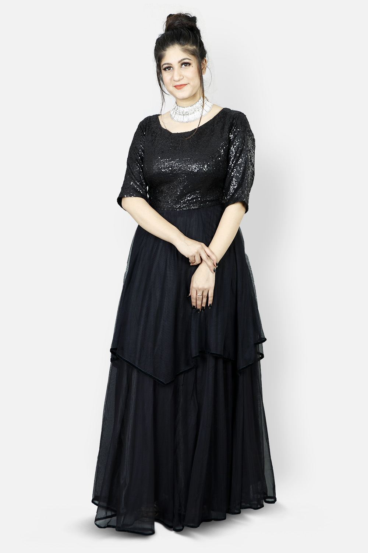 Black Sequins & Net Gown