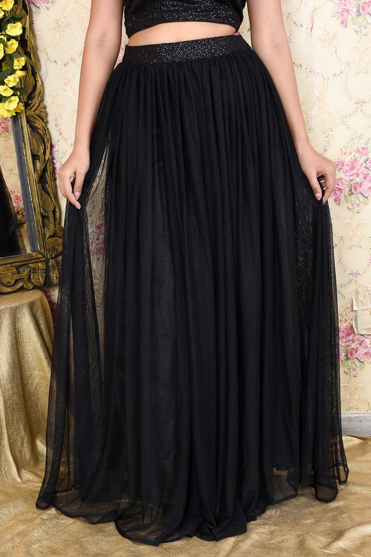 Black Sequins And Net Skirt