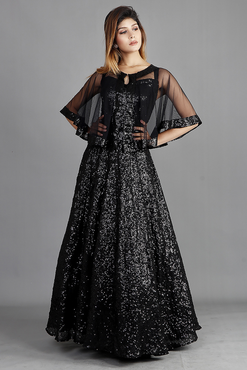 Black Sequins Gown With Cape