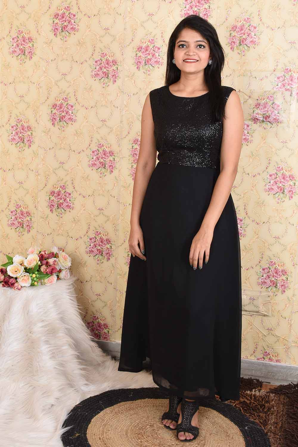 Black Sequins and Georgette Party wear Dress