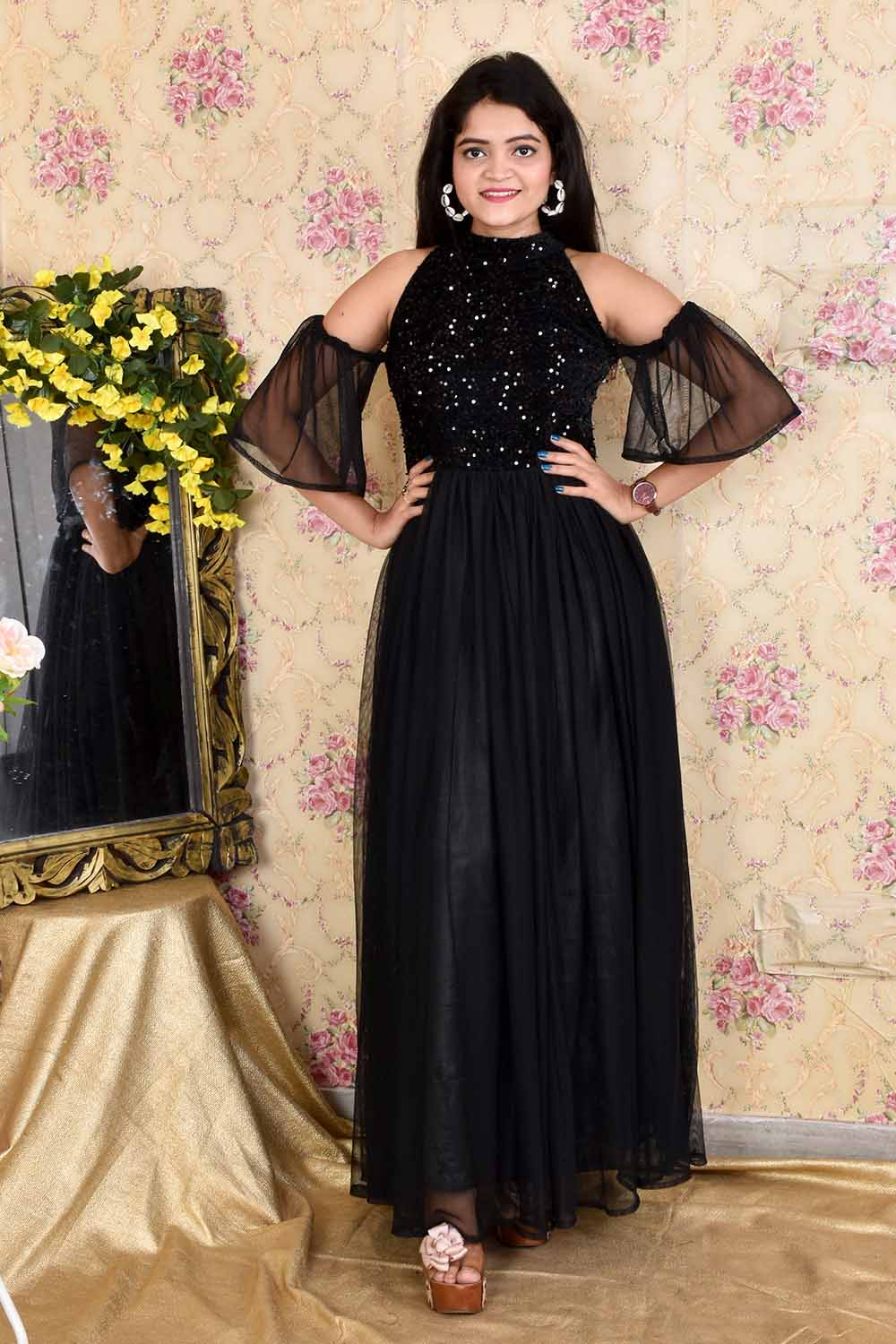 Black Sequins and Net Gown