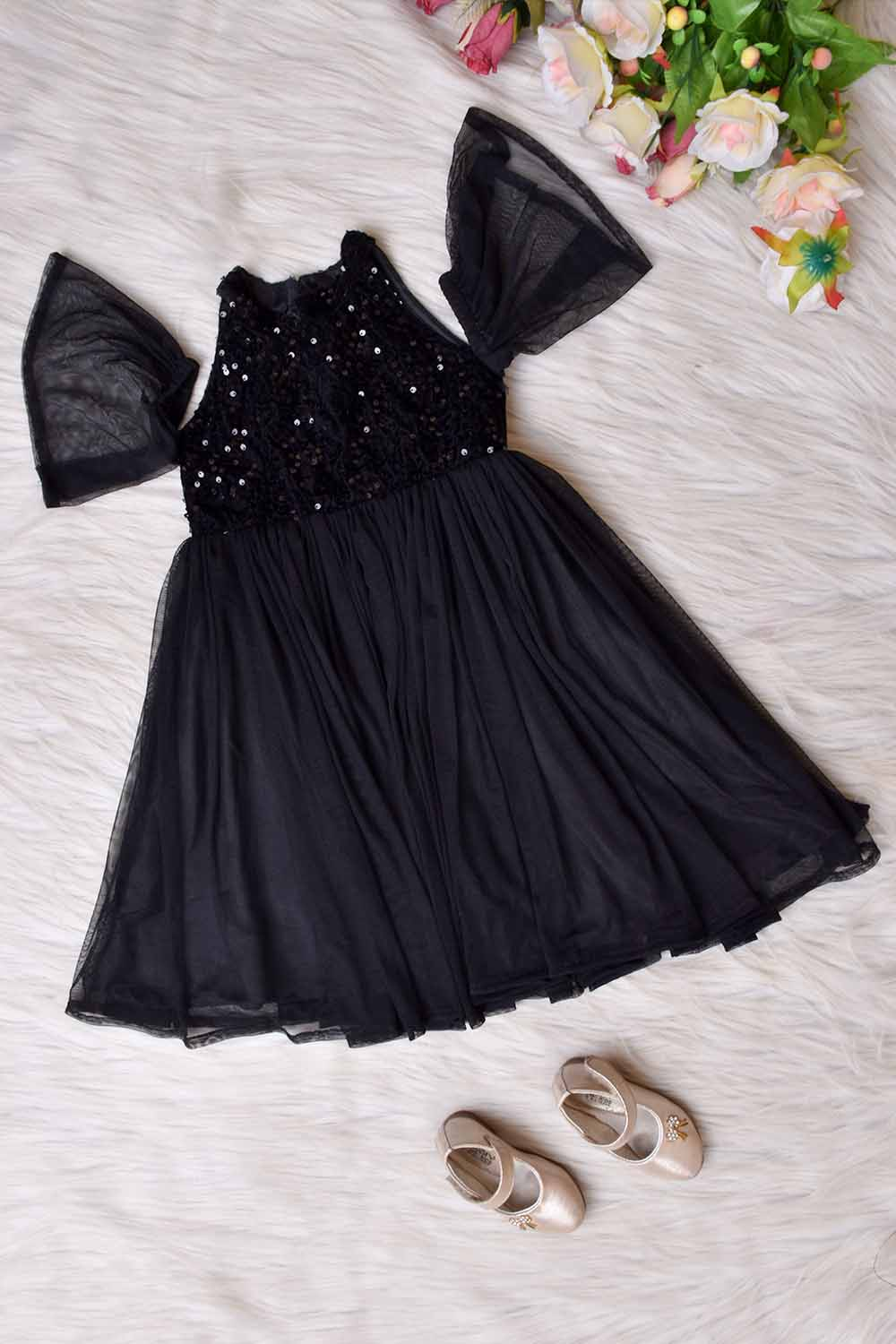 Black Sequins and Net Kids Gown