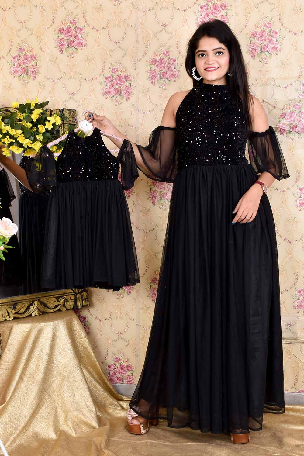 Black Sequins and Net Mother-Daughter Gown Combo