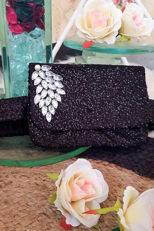 Black Sequins waist belt bag