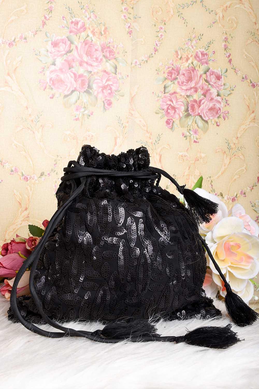 Black Sequins work Potli Bag