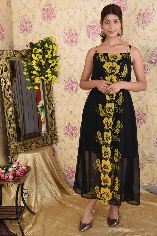 Black Yellow Printed Maxi Dress
