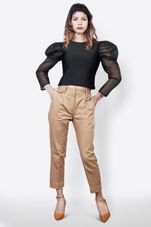 Black and Khaki Top Pants Set